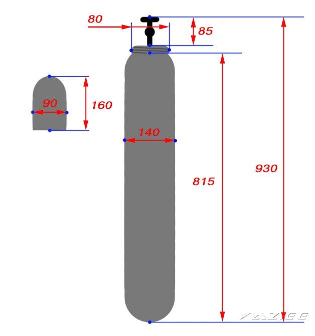 Рисунок №2 Размеры баллона